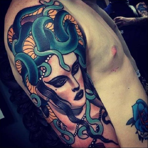 Witch-y Medusa tattoo. The evil image of Medusa is well depicted in this tattoo. Typical to nature, she will always be remembered as a villain.