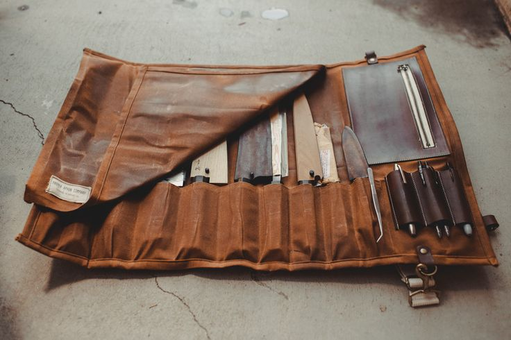 Waxed Canvas and Leather Chef Knife Roll by ProperApronCompany
