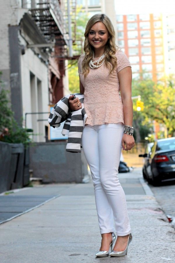 Mixed Metals | Bowsandsequins.com | Pinterest | Silver Pumps White Jeans And Peach