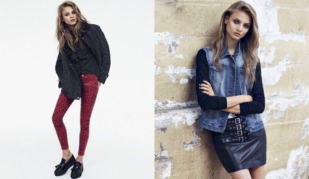 Gilet di jeans e leggings maculati dalla collezione di abbigliamento Mango per l'autunno inverno 2013 2014.