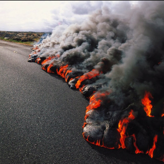 Saw lava flows on the road in Hawaii