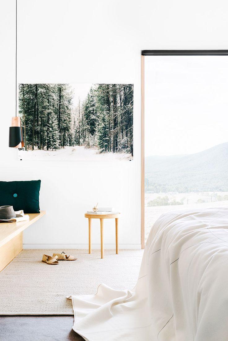Fiona Lynch // Finnon Glen // white; concrete; timber; picture window; black + copper low hanging pendant