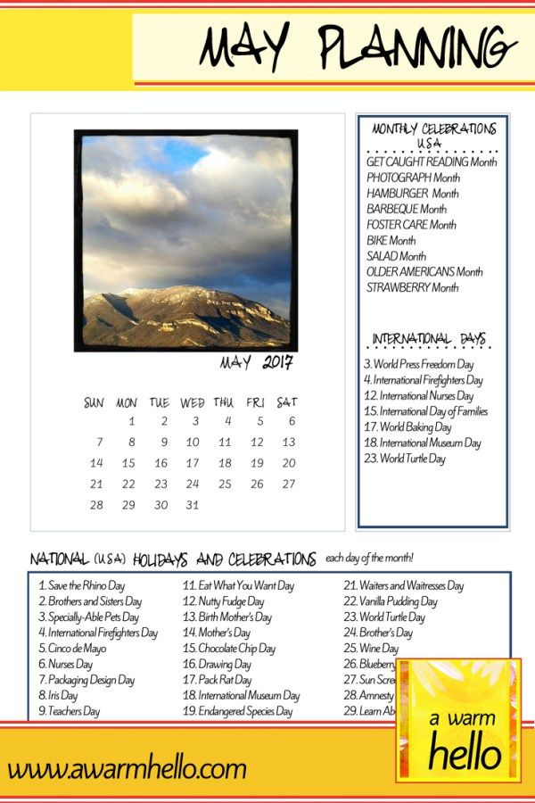 Come Download this Printable May 2017 Planning Calendar! Content Planning around Holidays and Celebrations makes Blogging More Fun! Theme-Based Activities and Events are Way More Fun!