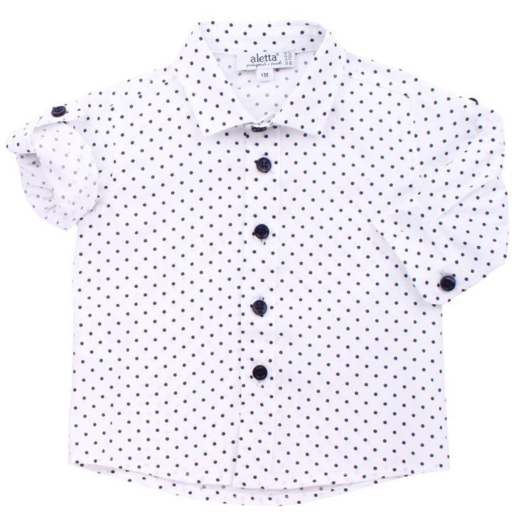 Camicia bianca Aletta da bambino a pois blu in cotone