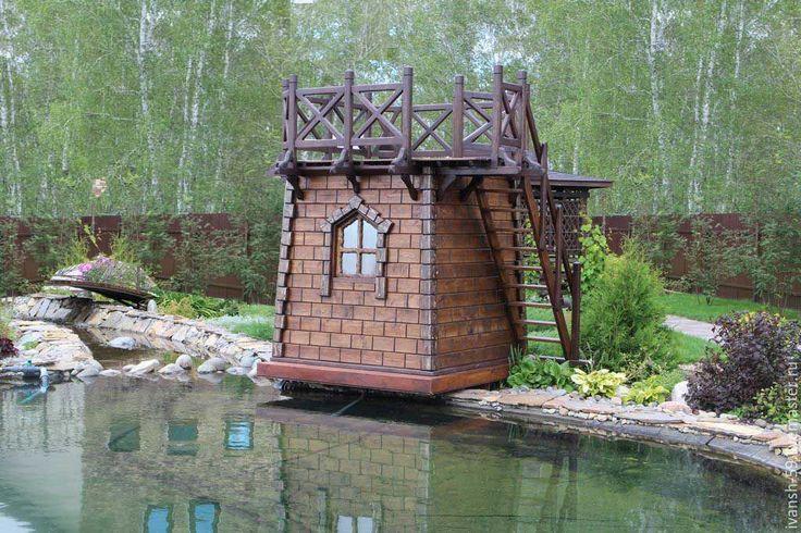 Купить Домик - домик, Домик деревянный, из дерева, для загородного дома, для бассейна, горка для бассейна, коричневый
