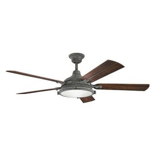 Kichler Lighting Hatteras Bay Patio Collection 60-inch Weathered Zinc Ceiling Fan w/Light - Free Shipping Today - Overstock.com - 20152605