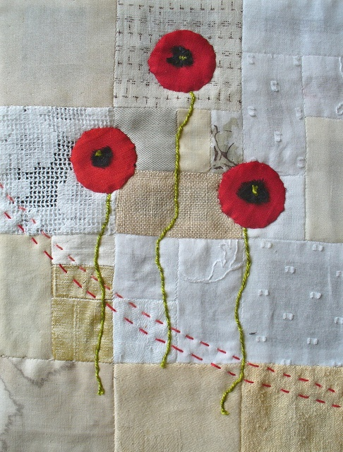 poppies on neutrals, love back ground piecing. Embroidery and quilting: a marriage of the best