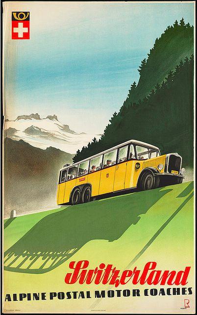 Switzerland vintage travel poster