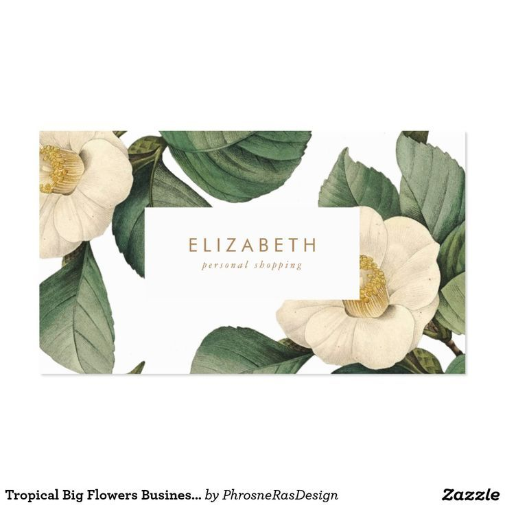 Tropical Big Flowers Business Card Business Card Graphic Flower Business Floral Business Cards