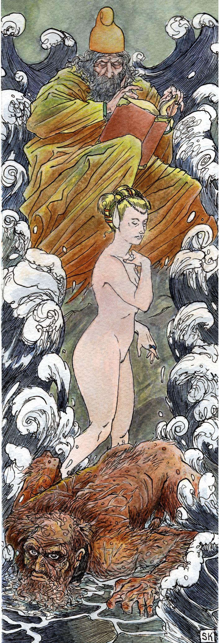 Bastian Kufper's The tempest, William Shakespeare. #bastiankupfer #shakespeare #thetempest #tempest #miranda #prospero #caliban #island #magic #fantasy #purcell #unconscious #literature #illustration #art #fabulantes
