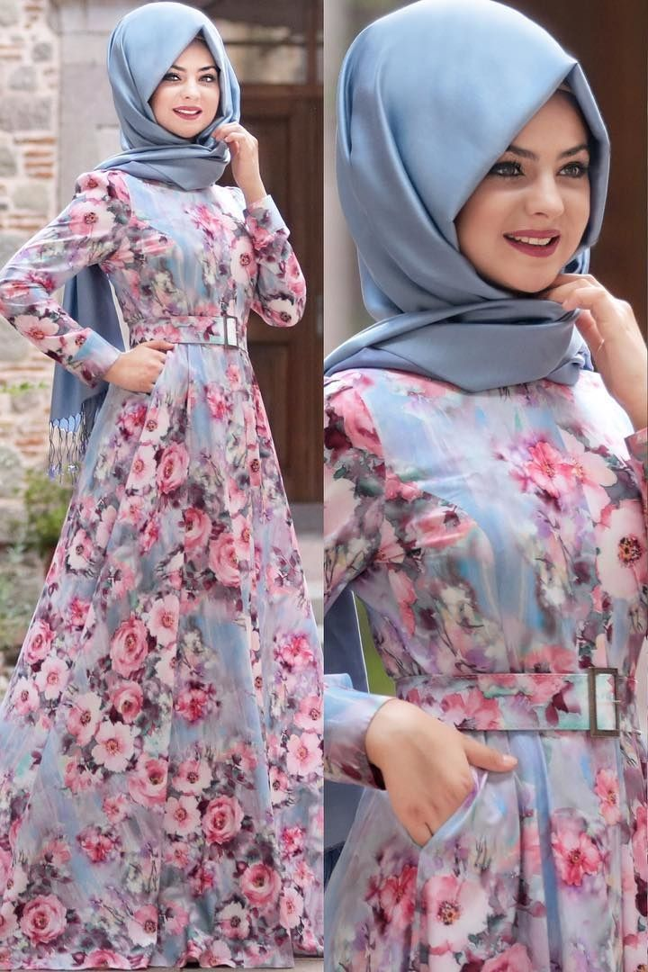 Bubble gum Grey rose hijab dress.