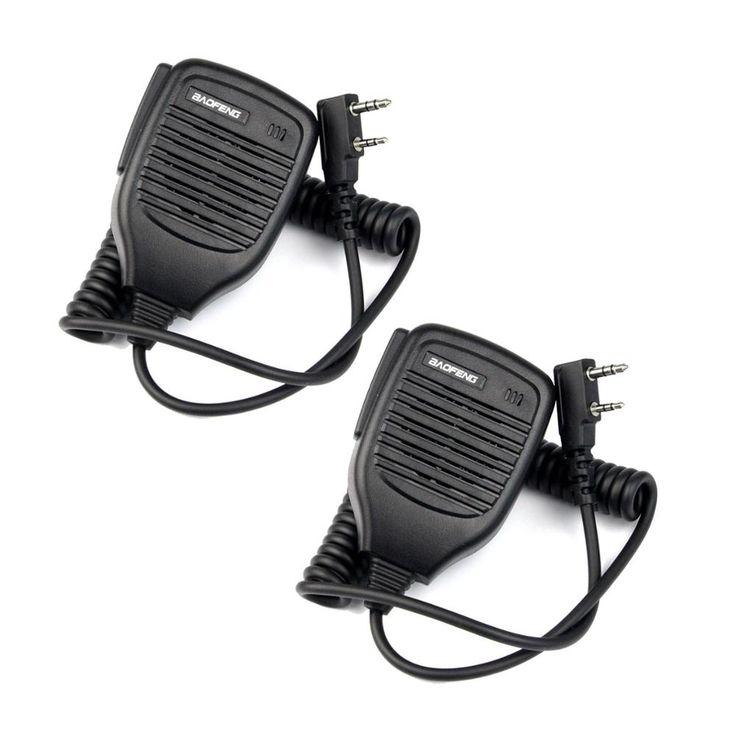2x 2Pin PTT Speaker Mic Microphone for BAOFENG Retevis Kenwood TYT HYT+track NO