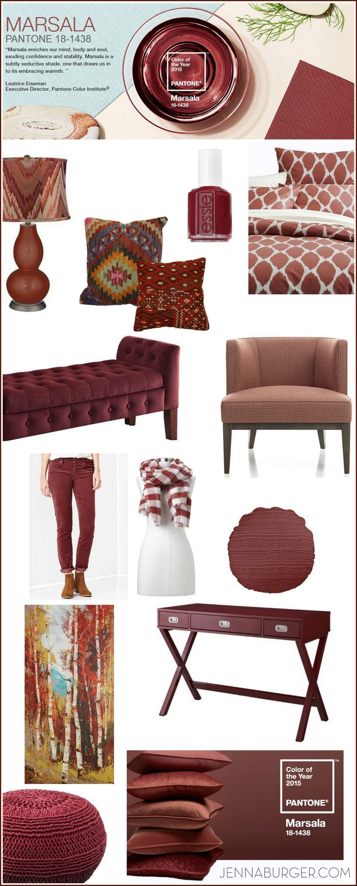 Pantone Color of the Year 2015: Marsala. From fashion to home, this brown-red hue for 2015 can be incorporated in every way