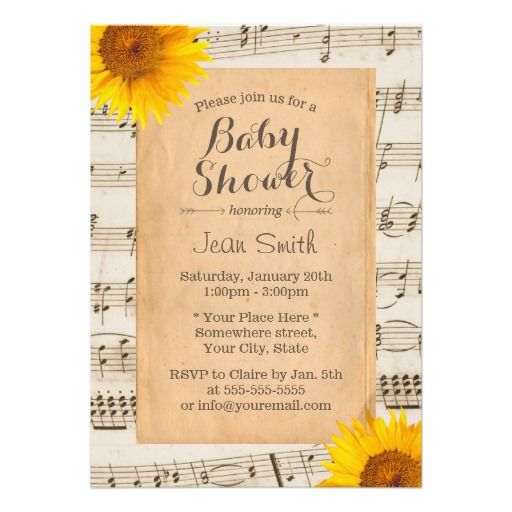 Rustic Sunflower Vintage Musical Baby Shower Card