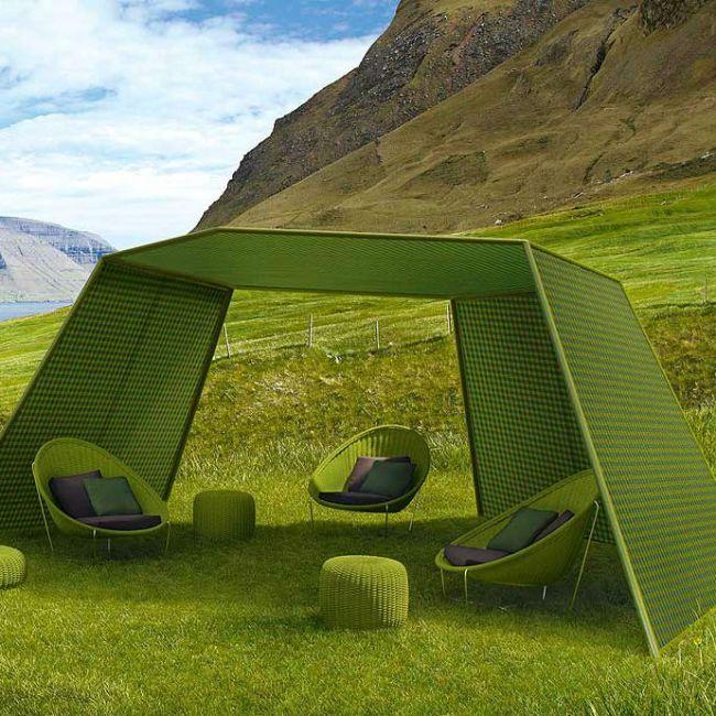 paola lenti pavilion terraszonwering modulaire zonwering bestaande uit een zeshoekige dak en. Black Bedroom Furniture Sets. Home Design Ideas