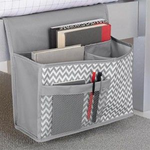 a bedside caddy keeps everything close by