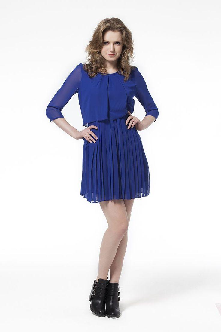 Pilise Detaylı Elbise Mavi Elbise Parlament Mavi Elbise En Trend Elbiseler 59,90 TL