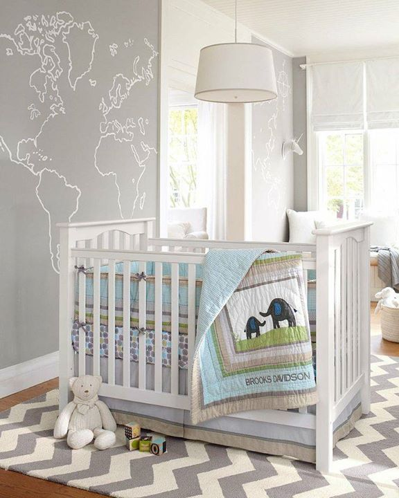 The Gender Neutral Brooks Nursery Collection Is A Sweet Take On Safari Theme Rather Than Traditional Khaki And Green This Pastel Blue