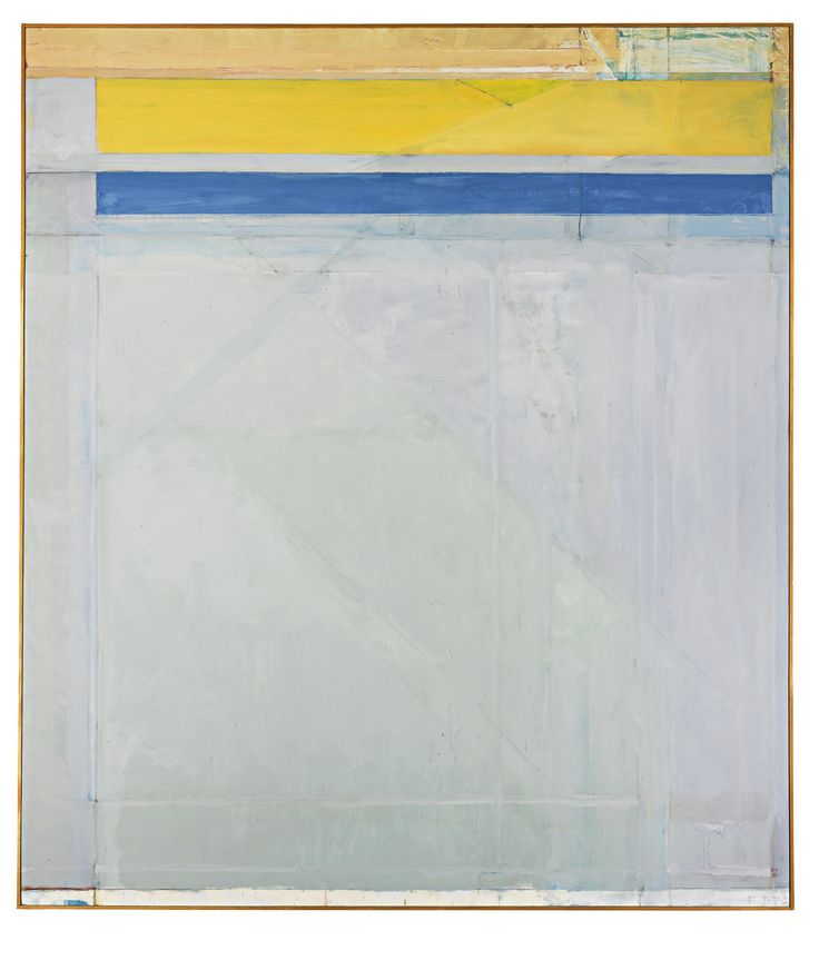 RICHARD DIEBENKORN 1922 - 1993 OCEAN PARK #50, signed with initials and dated 72; signed, titled and dated 1972 on the reverse, oil on canvas, 93 by 81 in. Executed in 1972.