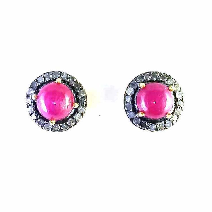 FREE SHIPPING DIAMOND ROSE-CUT 925 SOLID STERLING SILVER NATURAL RUBY  STUDS/TOP #SilvexStore #Stud