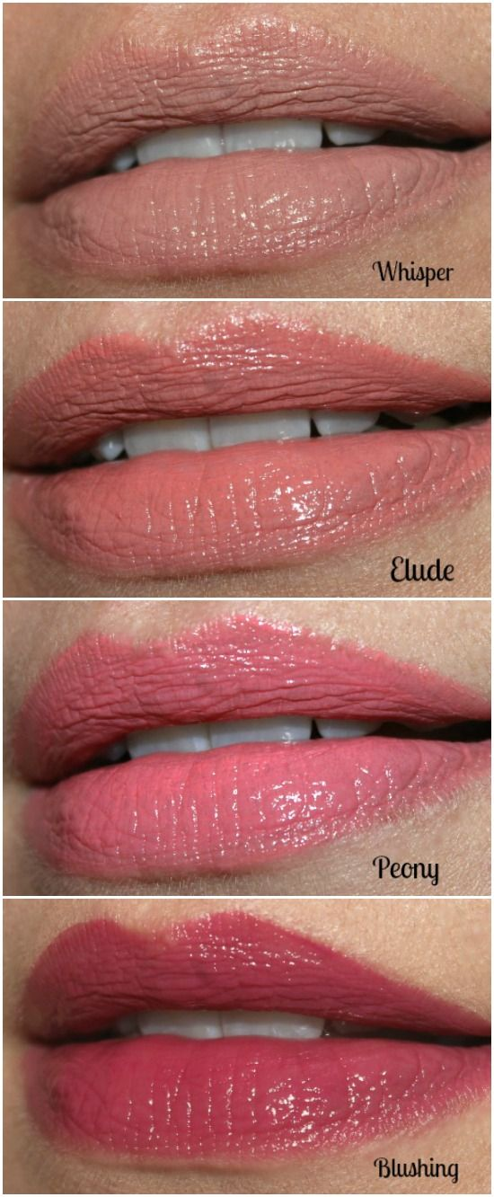 L.A. Girl Glazed Lip Paint Swatches: Whisper, Elude, Peony & Blushing