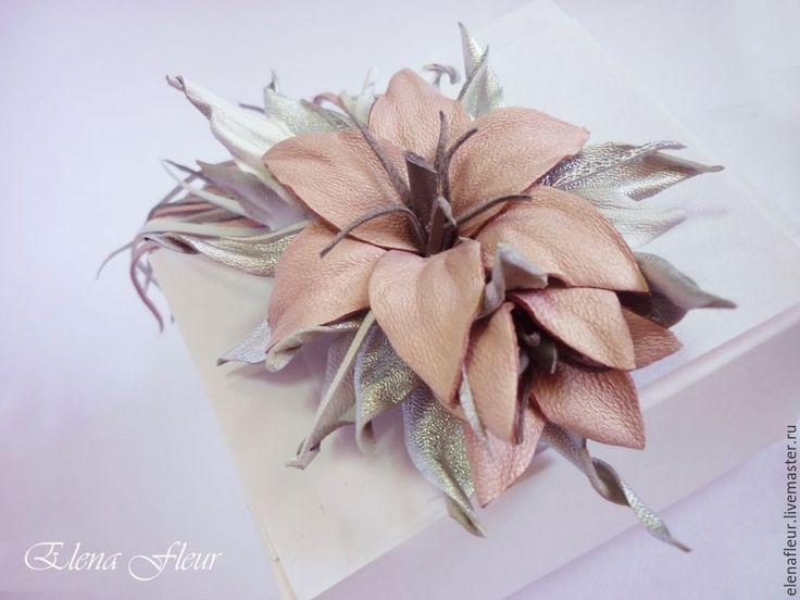 """Купить Цветы из кожи """"Лилии. Звездный путь"""" - розовый, лилии из кожи, лилии"""
