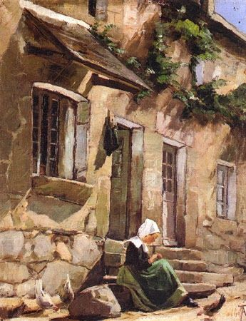 """Ada Thilen 1852-1933 Finlandaise """" Young Breton on the steps of her house """"1884"""