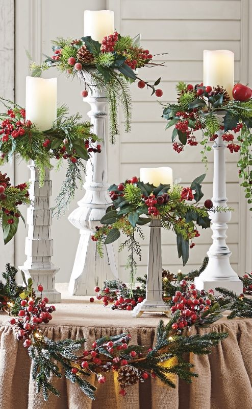 set of five winter berry candle rings happy holiday christmas decorations christmas christmas candles