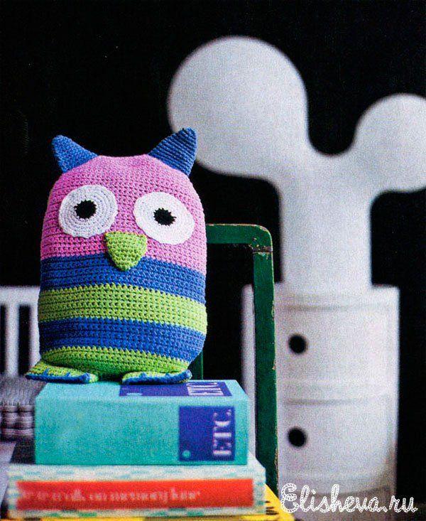 Дизайнерская разноцветная сова вязаная крючком   Блог elisheva.ru