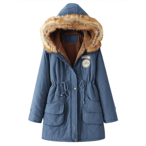 Snap Button Fur Collar Parka Coat (98 ILS) ❤ liked on Polyvore featuring outerwear, coats, parka coat, blue parka, fur-collar coats, blue parka coat and fur collar parka
