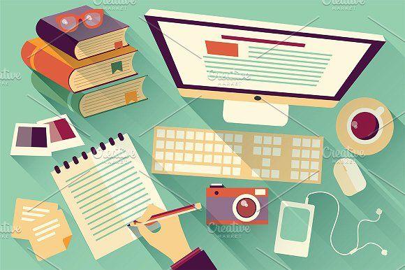 Flat Design Office Desk 04 by Blue Lela Design on @creativemarket