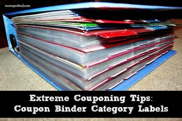 Extreme Couponing Binder Category Labels