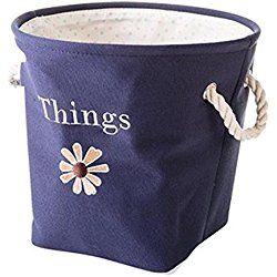 Usable Storage Basket Bag Hamper Nursery Clothing/Toys/Books Organizer with Handle, Blue