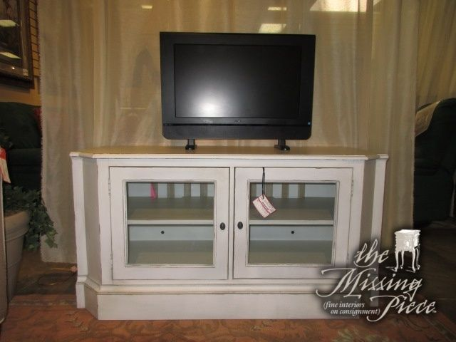 Ethan Allen low media cabinet in an off white with glass ...
