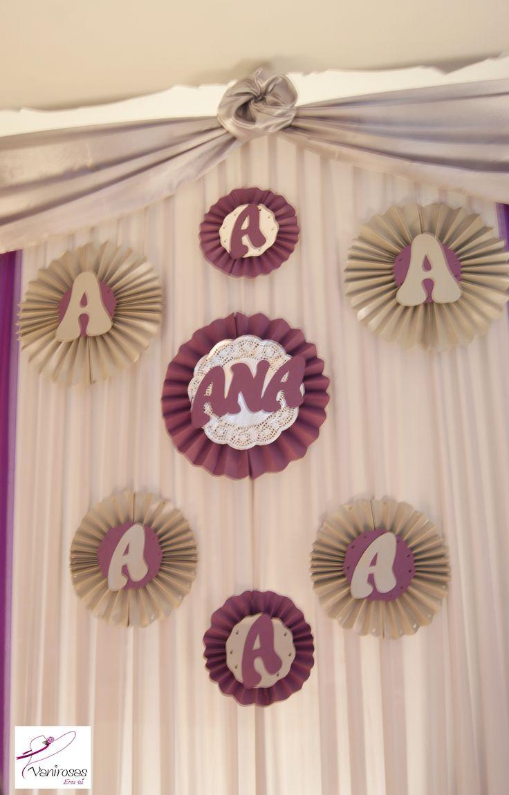 Rosetas rosetones o abanicos para decorar mesas pared - Abanicos para decorar ...