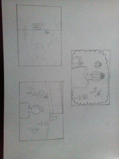 Dit waren mijn ontwerpen voor mijn tekening. Ik wilde het meisje met het knotje het middelpunt maken. Daar omheen wilde ik weergeven dat ze veel van dansen houd maar anders ging dansen, eerst een hiphop meisje en daarna een ballerina of eerst een ballerina en daarma hiphop meisje, dat mag de kijker zelf beslissen. Zelf zit ik ook op dansen dus daarom kwam ik op dit idee. Ik heb uiteindelijk het bovenste ontwerl gekozen met de wolk eromheen maar de wolk wil ik weg halen en in plaats daarvan…