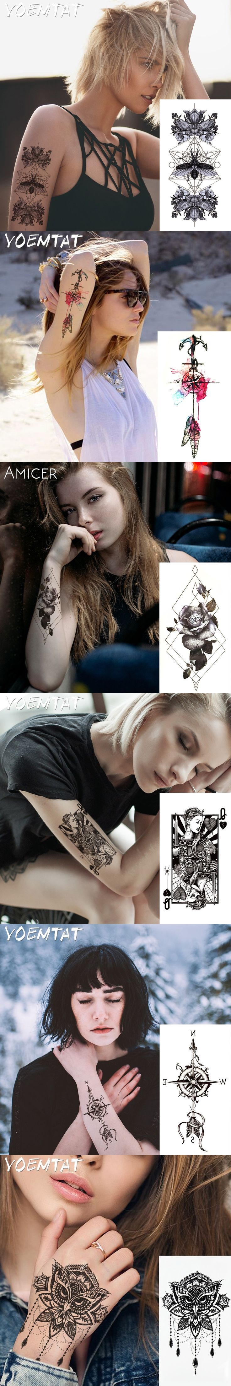 1PC Withered Roses Hot Black White Large Flower Henna Temporary Tattoo Black Mehndi Style Waterproof Tattoo Sticker