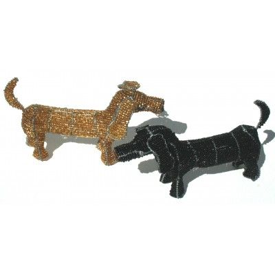 Gold and black sausage dachshund dog wire beaded artwork handmade in Africa – handcrafted to perfection