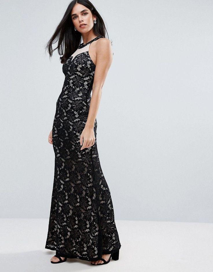 Ax Paris Printed Bodycon Maxi Dress - Black