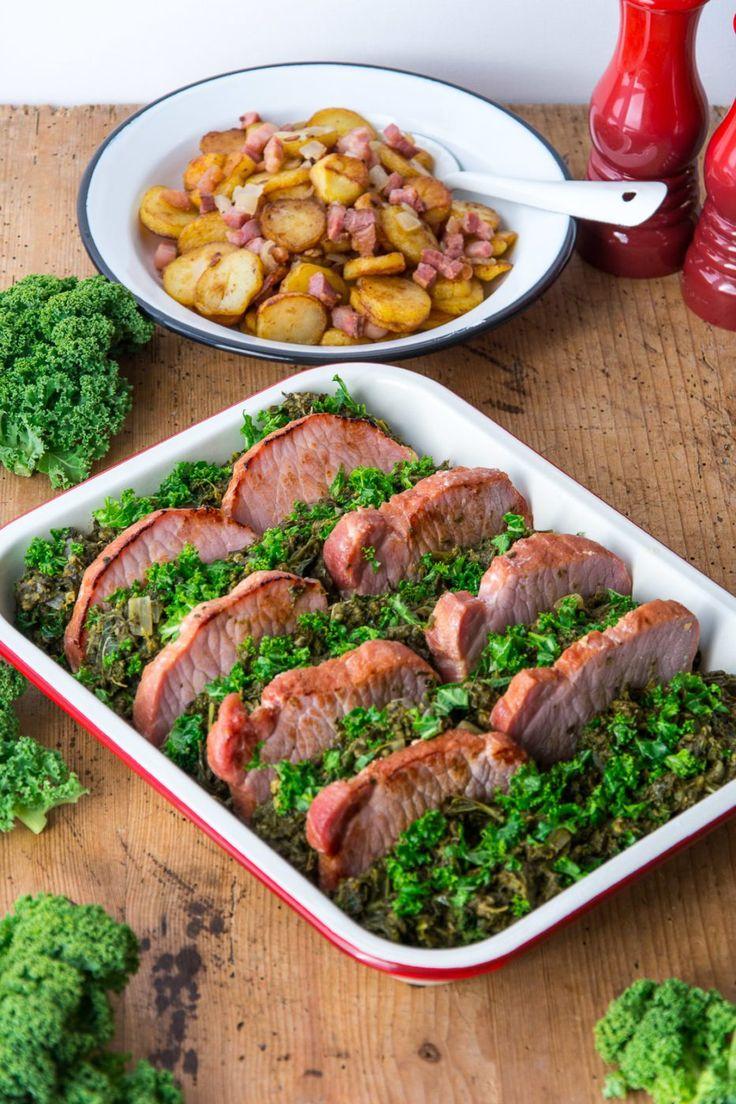 Grünkohl Auflauf mit Kasseler und knusprigen Bratkartoffeln von den [Foodistas] - http://foodistas.de/