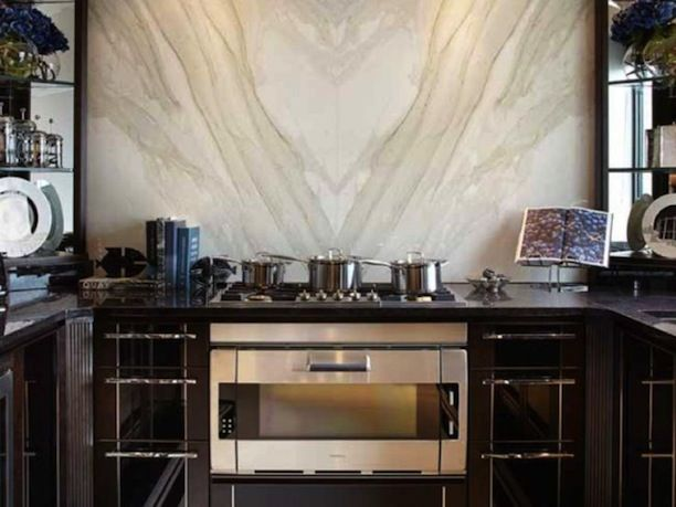 Book Matched Marble Kitchen Backsplash Natural Stone