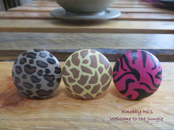 Animal Print Hand Painted Drawer Knobs / Dresser Pulls - Welcome to the Jungle!