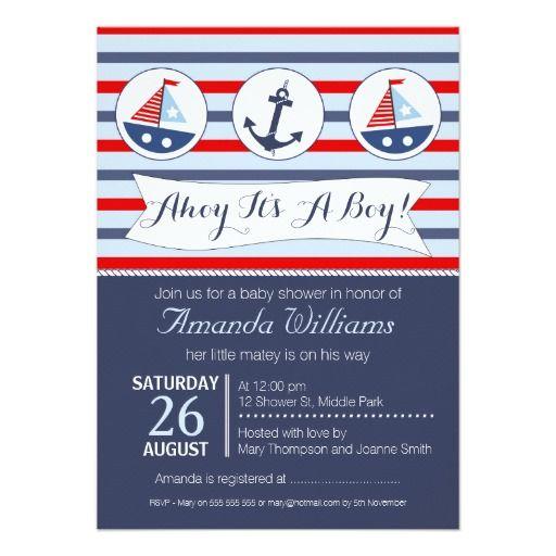 Boys Nautical Baby Shower Invitation