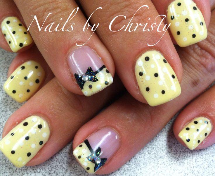 Yellow Polka Dot Bow Shellac Nails by Christy @Mane Tamers Mishawaka