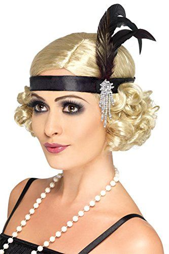 Smiffys Black Satin Charleston Headband
