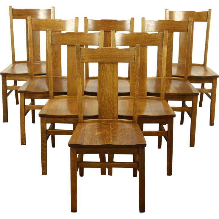 A Set Of Eight Arts And Crafts Or Mission Oak Period Dining Chairs Date From About