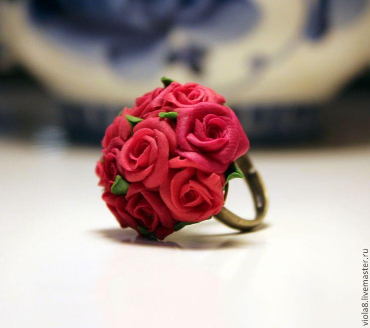 """Купить Кольцо """"Букет бордовых роз"""". Полимерная глина. - бордовый, кольцо с цветком, кольцо с розой"""