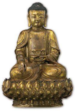 佛教藝術 - 佛教造像的金銅佛像 中台山博物館館藏金銅佛坐像(正面圖) 明 (1368-1644) 鎏金銅 H66.5×W44.5×D29.5cm