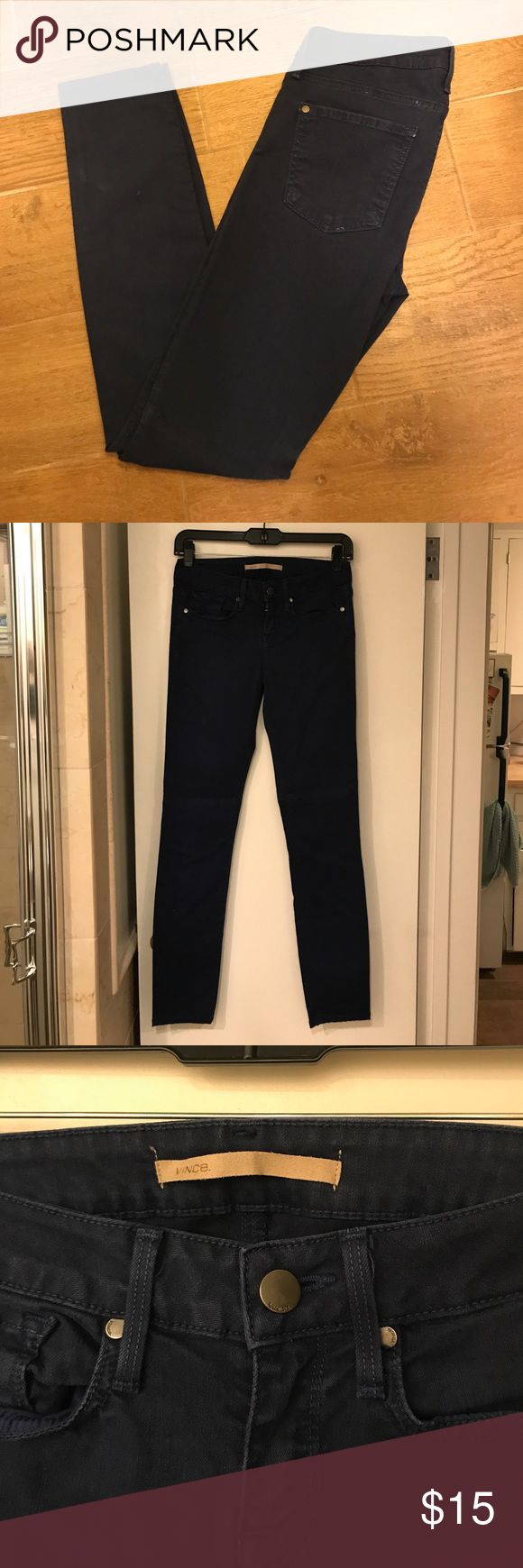 Vince blue skinny pants Vince skinny artic blue, 5 pocket skinny pant! Style: DV133-2052. Great blue, different than a basic denim wash. They have a little piece of thread pulled on the back. Pricing these to sell, I'm moving so I'm cleaning out the closet!! Vince Jeans Skinny
