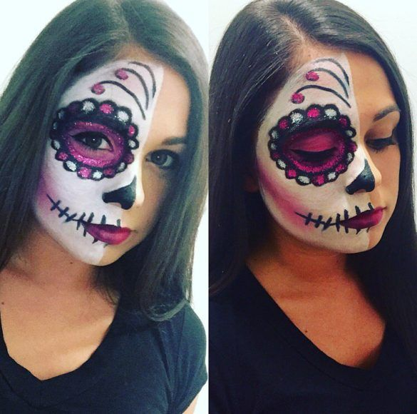 Half Face Beauty Halloween Sugar Skull Makeup ideas
